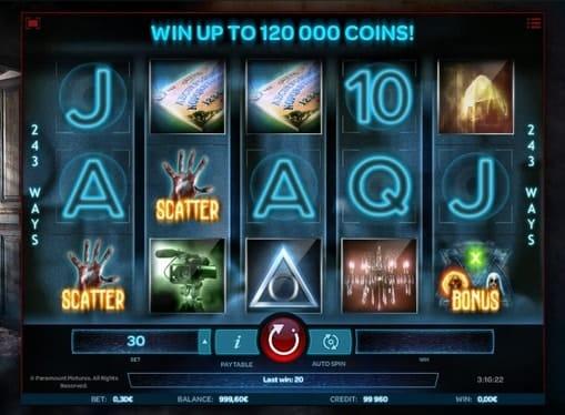 Комбинация из скаттеров и бонусов в игре Paranormal Activity